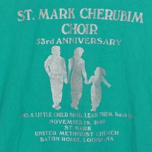 USA古着プリントTシャツL緑ST MARK CHURCH教会 両面50/50極美品