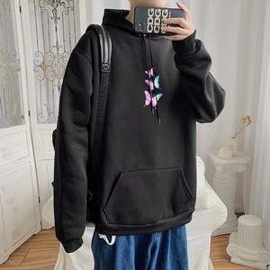 【メンズファッション】カジュアルフード付きプリントボウタイプルオーバーパーカー37940893