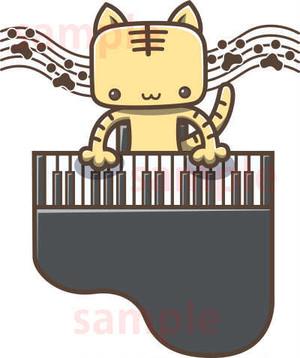 グランドピアノをひくねこのイラスト素材