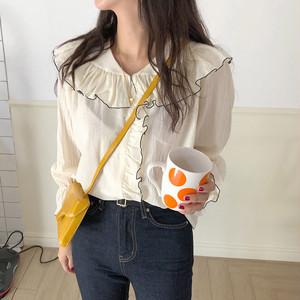 【トップス】chic韓国風スウィートレトロラウンドカラー切り替えシャツ23038053
