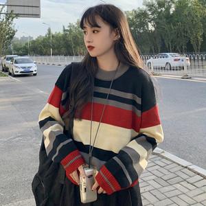 【トップス】新作ルーズ厚い保温ラウンドネックストライプ柄セーター