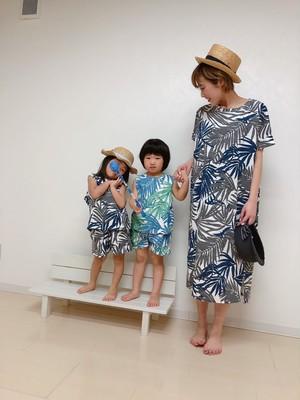 3900円+税 親子おそろい リーフ柄ワンピース(ママ)