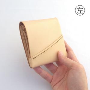 ヌメ革(生成り)のミニ財布【chotof/ちょとふ】#左利き用 #手縫い