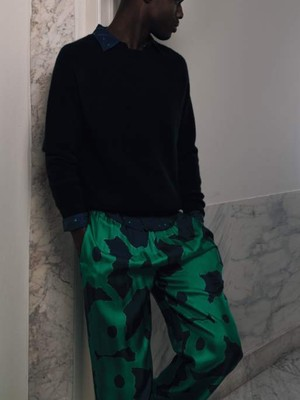 予約販売のみ【BANANATIME】EASY PANTS:BLEEDING FLOWERS GREENBLUE