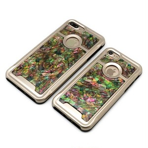 りんごが見える iPhone7/iPhone7Plusケース 天然貝ケース(アンティークローズ・ゴールドタイプ)<螺鈿アート>