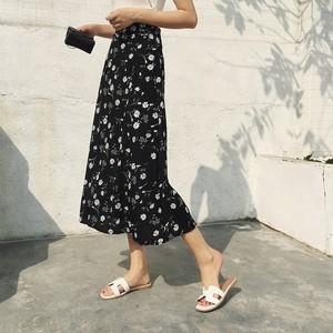 スカート レディース ボトムス フレアスカート ロング丈 花柄 カジュアル ゆったり シンプル 着まわし 春 お出かけ 通勤 オフィス