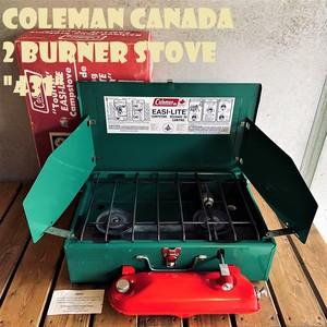 コールマン 431 ツーバーナー 赤タンク コンパクト カナダ製 1980年代製造 ビンテージ ストーブ 2バーナー COLEMAN キャンプ ホワイトガソリン 希少 美品 箱付き