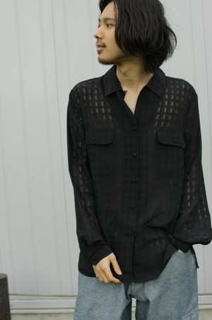Check Pattern Mesh L/S Shirt