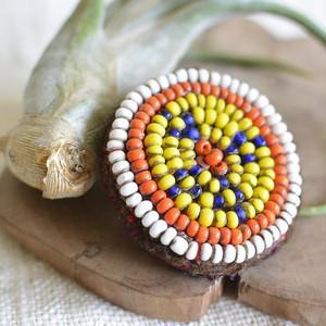 アフガニスタンのアンティークビーズ刺繍ブローチ【I】