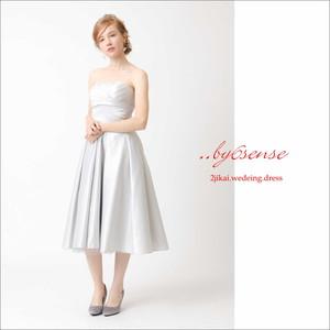 ミモレサテンドレスドレス 結婚式 パーティー ロング丈 花嫁 イブニングドレス シルバー