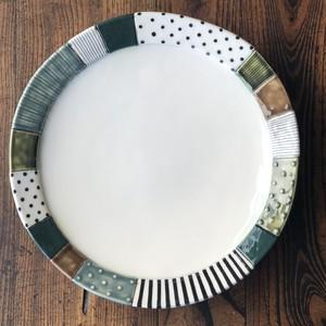 板原摩紀さんのパッチワーク大皿(緑)