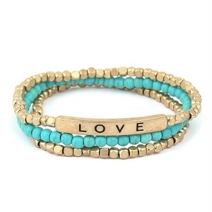 LOVE Message with Semi and Metal Beads Bracelet (PB0409)