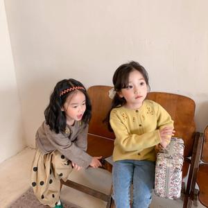 【先行予約】レトロ風 刺繍 ニット カーディガン 子供服 春 SS