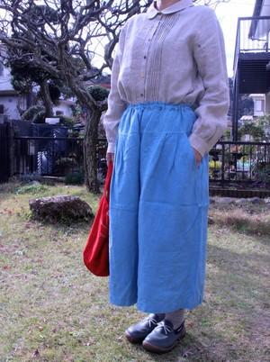 ワッシャーリネンキュロットスカート(ターコイズ)