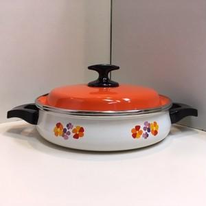 レトロなホーロー鍋【22/オレンジ】(0210207S80)