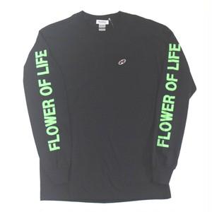 「レコードワッペンロングTシャツ(ELECTRIC FLOWER)」 ブラック S/M/L/XL WATERFALL新作