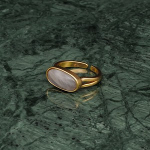 OVAL STONE RING GOLD 010