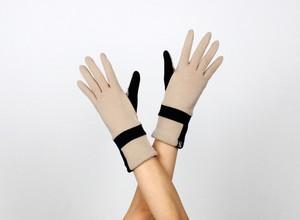 % PERCENT ジャージー 手袋(ベージュ・ブラック)女性用・ウール100%・スマホ対応・縫製手袋