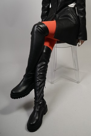 STRETCH KNEE HIGH  BOOTS (BLACK) 2108-04-1103