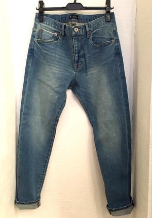 Vintage Washed Big Selvedge Tight Fit Straight Stretch Denim Ancle Pants Blue Indigo