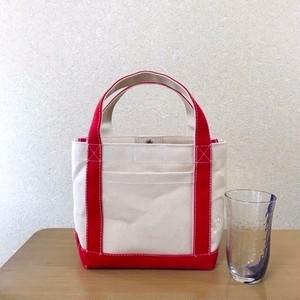「シンプルトート」小サイズ「生成り×赤」帆布トートバッグ倉敷帆布8号