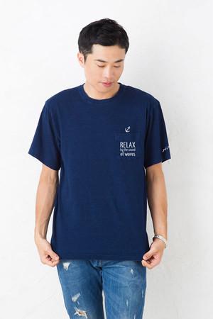 インディゴ ポケット Tシャツ メンズ レディース お揃い ペアルック 半袖 マリンテイスト 碇 いかり リラックス ロゴプリント ダークインディゴ