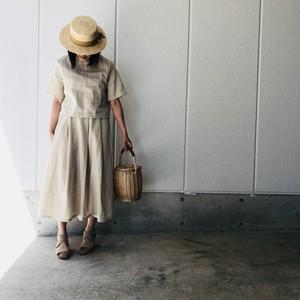 ホワイトストライプ綿麻フレアスカート