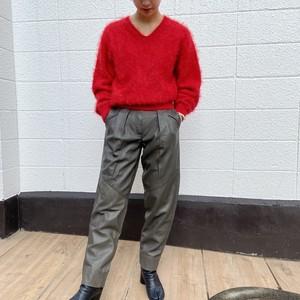 Genuine Leather pants 羊革 テーパード タック パンツ