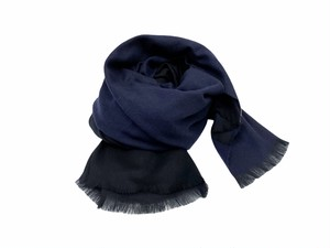 【STILL BY HAND】Wool Stole (black×navy)