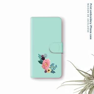 モスグリーンのお花の刺繍プリント【iPhone Androidスマホケース・全機種対応 専用カメラホール】