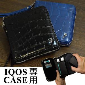 ストラップ付き 牛革 クロコ型押し IQOS アイコス ケース レザー 財布型 ヒートスティック クリーナー