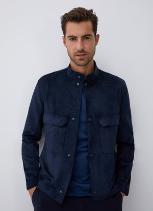 SUEDETTE JACKET WITH CHEST PATCH POCKETS