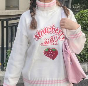 ストロベリーミルクセーター(ホワイト / ピンク)
