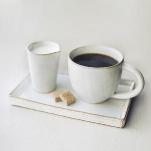 カフェマグ・ミルクピッチャー・角プレート 3点セット 陶器