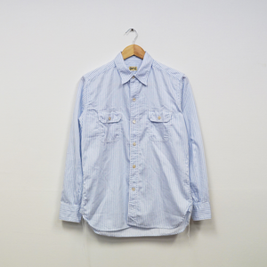 WORK SHIRT WITH ELBOW PATCH (S.I.C DOBBY STRIPE)