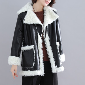 【outer】レディースコート暖かい配色折り襟2色ジャケット