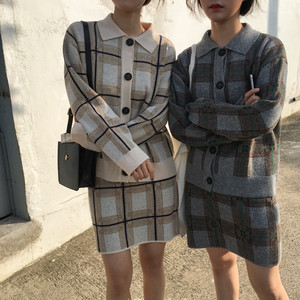 winter plaid knit jkt + skirts 3429