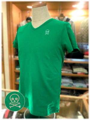 【 USUALIS 】 ウザリス      - Italy -             Vネック 半袖Tシャツ   スカルデザイン×ラインストーン