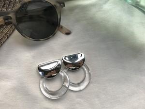 silver clear ring pierce