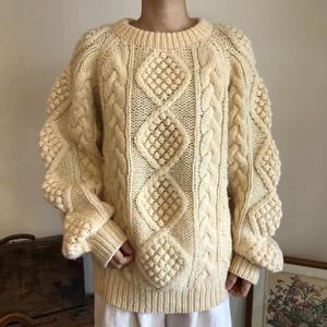 アランニット セーター 生成り メンズ