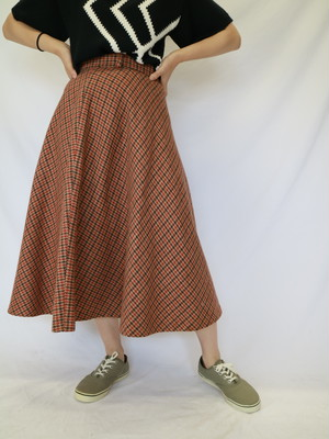 wool check skirt brown【0035】