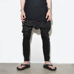 "Leather Cotton ""sarouel"" Pants〈Black〉"