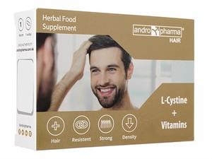 【(Andromedical) アンドロファーマ・ヘアー】 アンドロファーマ・ヘアーは、脱毛に有用なサプリメントです。 L-シスチンをはじめ、亜鉛、ビタミン群、バイオペリンを成分として配合しています。