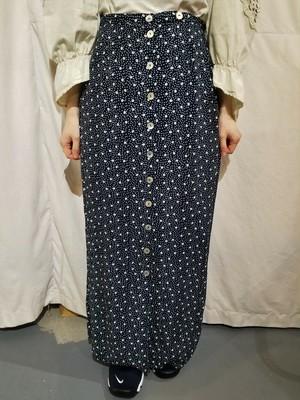 Flower pattern rayon skirt [O-92]