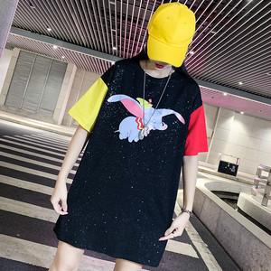 【期間限定の新品 500円減ります】【トップス】ストリート系コットン配色ラウンドネックTシャツ19555025