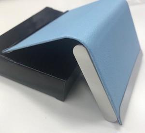 スタイリッシュ 名刺入れ 選べる11色 表面 PU レザー ステンレス おしゃれ カード ホルダー  ( スカイブルー ) kcab383