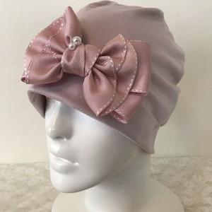パールとバタフライ型ステッチリボンのケア帽子 ピンク7