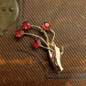60's-70's Vintage ラインストーンの花を持って   [BV-227]