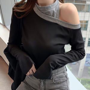 【トップス】韓国風偽2着切り替えスリム新作長袖シャツ