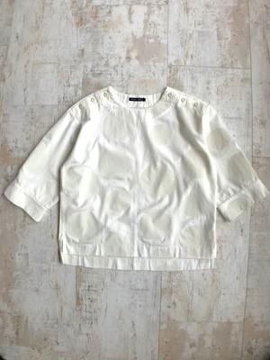 Polka dot whitedenim collarless deskman shirt